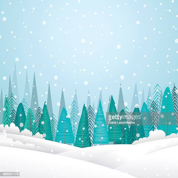snowy winter landscape with forest and hills - blizzard stock illustrations, clip art, cartoons, & icons