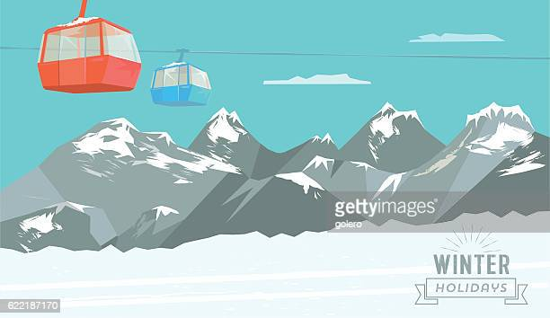 snowy winter mountain landscape background with ski lift