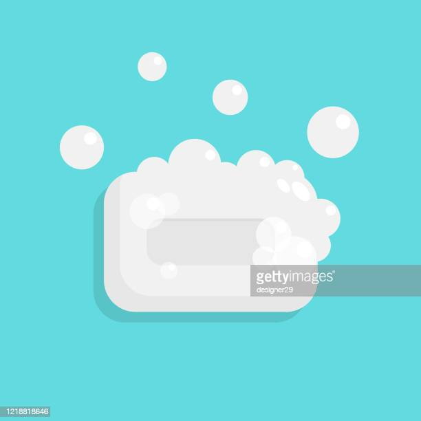 soap and bubbles icon flat design. - soap stock illustrations