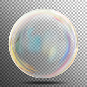 Soap Bubble. Transparent Realistic Bubble With Rainbow Reflection. Ready To Apply To Your Design. See Through Element. Vector Illustration