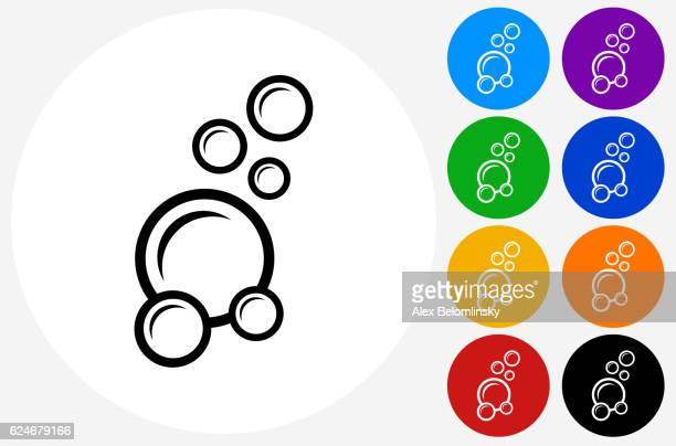 Soap Bubbles Icon on Flat Color Circle Buttons