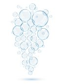 Soap bubbles on a white background