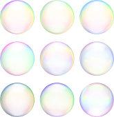 Soap Bubbles royalty free vector icon set Set & Variety