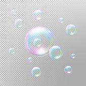 Soap bubbles. Transparent soap bubbles. Realistic soap bubbles