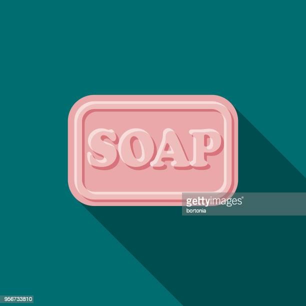 soap flat design beauty icon with side shadow - soap stock illustrations