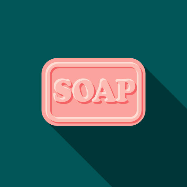 Soap Flat Design Cleaning Icon with Side Shadow