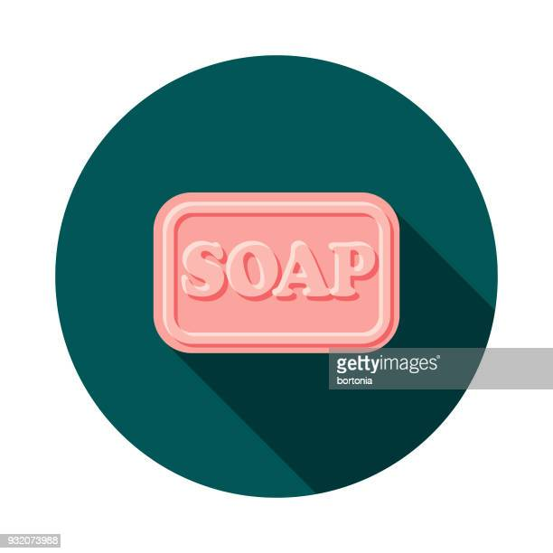 soap flat design cleaning icon with side shadow - scrubs stock illustrations