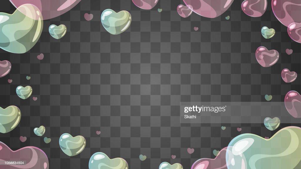 soap heart-shaped bubbles