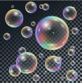 Soap transparent bubbles