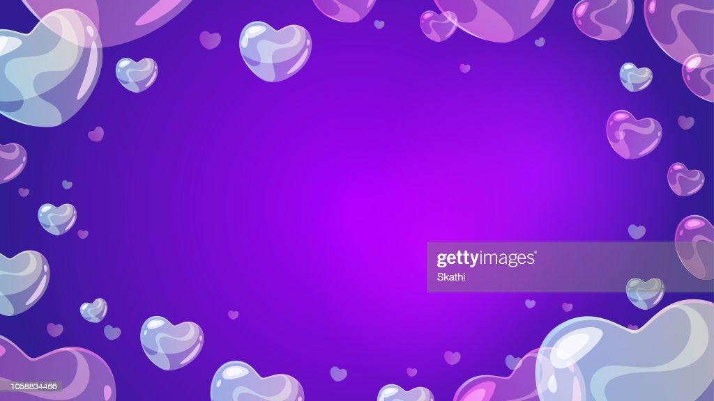 soap transparent heart-shaped bubbles