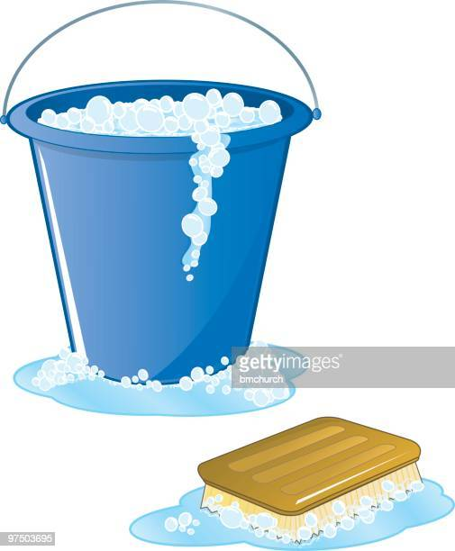 soapy scrub brush and bucket - washing dishes stock illustrations, clip art, cartoons, & icons