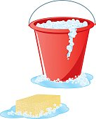 Soapy Sponge and Red Bucket