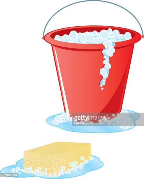 soapy sponge and red bucket - bucket stock illustrations, clip art, cartoons, & icons