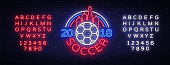 Soccer 2018 Neon Sign Vector. Football Championship design template, neon style icon, bright signboard, light banner, football advertising, invitation to European football. Editing text neon sign