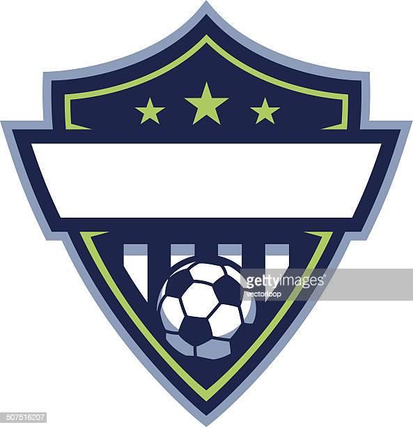 ilustrações, clipart, desenhos animados e ícones de futebol escudo logotipo - football