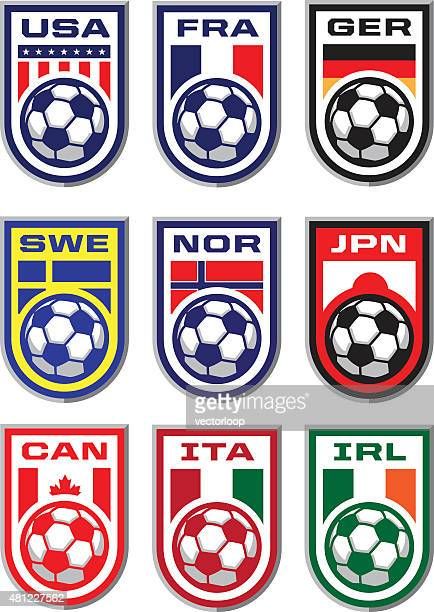 soccer badges - italy vs norwegian stock illustrations
