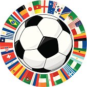 Soccer Ball and Ring of World Flags Soccer Championship 2014