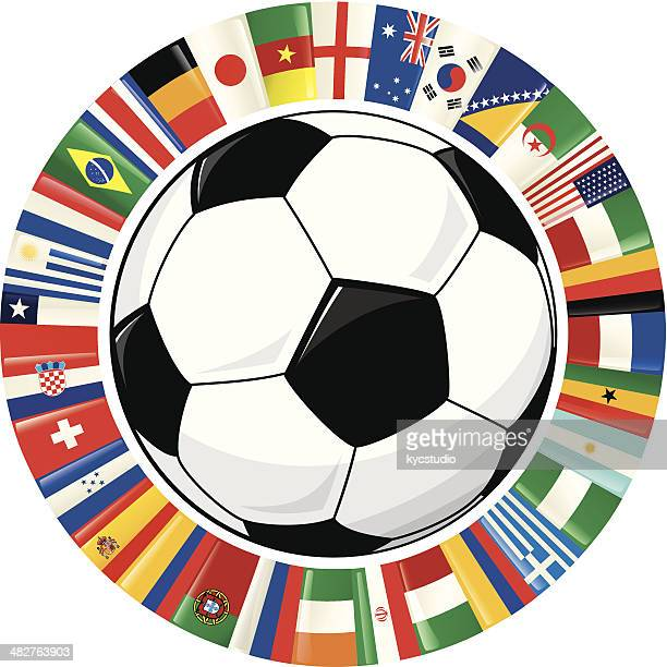 soccer ball and ring of world flags soccer championship 2014 - ghana stock illustrations, clip art, cartoons, & icons
