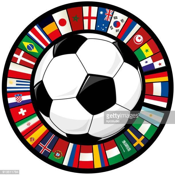 fußball und ring der welt-flaggen-fußball - iran stock-grafiken, -clipart, -cartoons und -symbole