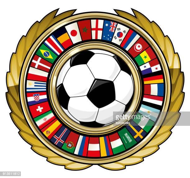 ilustrações, clipart, desenhos animados e ícones de bola de futebol e ringue de futebol de bandeiras do mundo - sérvia