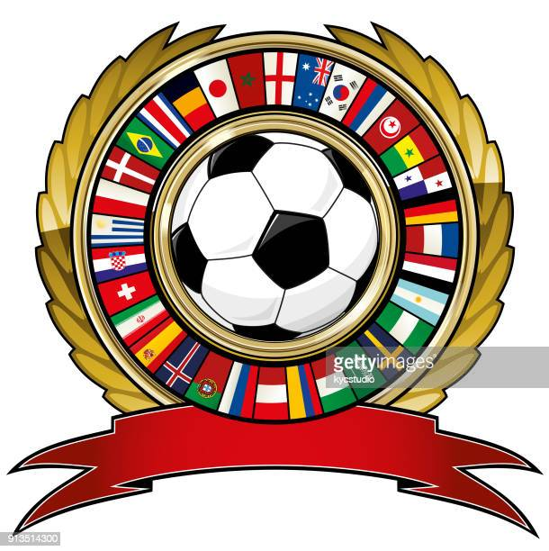 soccer ball and ring of world flags soccer - senegal stock illustrations, clip art, cartoons, & icons