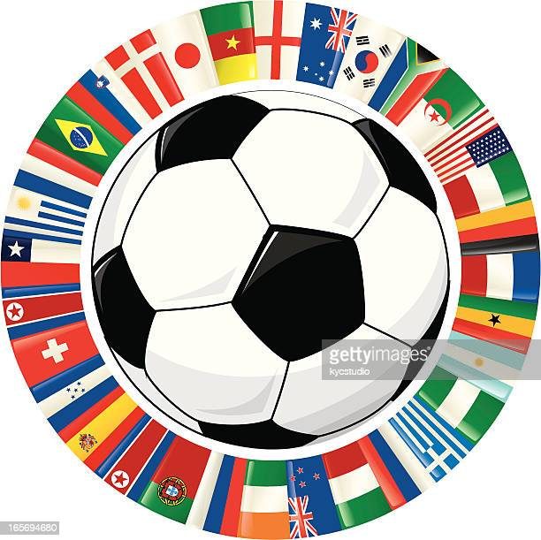 Soccer Ball and Ring of World Flags
