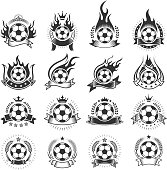 Soccer Ball Badges black and white royalty-free vector icon set