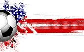 Soccer ball banner and USA flag