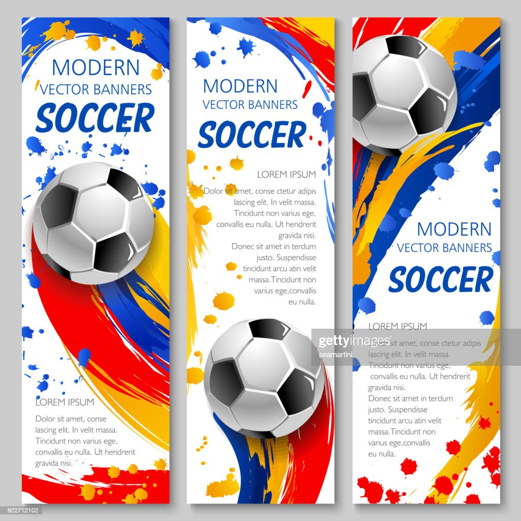 soccer ball banner of football sport game template vector art