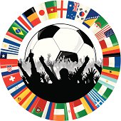 Soccer Ball, Cheering Fans, and Circle of Flags