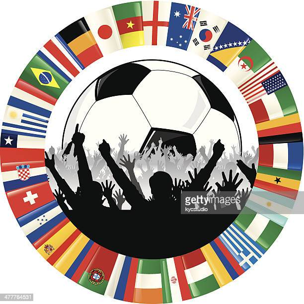 soccer ball, cheering fans, and circle of flags - ghana stock illustrations, clip art, cartoons, & icons