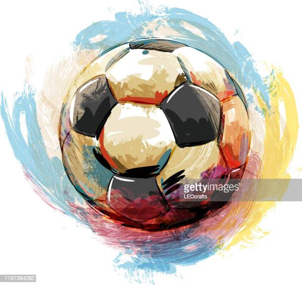 soccer ball drawing - art and craft stock illustrations