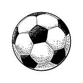 Soccer ball. Engraving vintage vector black illustration.