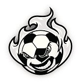 Soccer Ball Flamed B&W