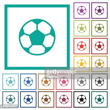 Soccer Ball Flat Color Icons With Quadrant Frames Vector Art | Getty ...