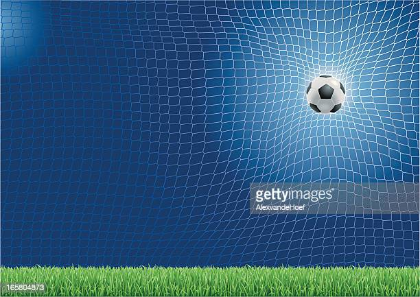 soccer ball schlagen im internet - tor sportgerät stock-grafiken, -clipart, -cartoons und -symbole