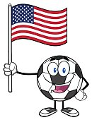 Soccer Ball Holding A Flag of United States