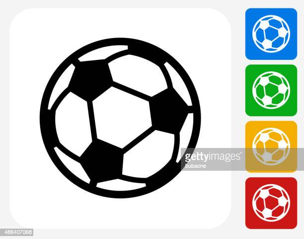 soccer ball icon flat graphic design - football stock illustrations, clip art, cartoons, & icons