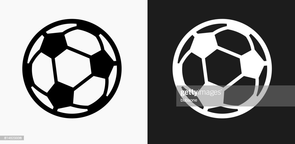 Soccer Ball Icon on Black and White Vector Backgrounds