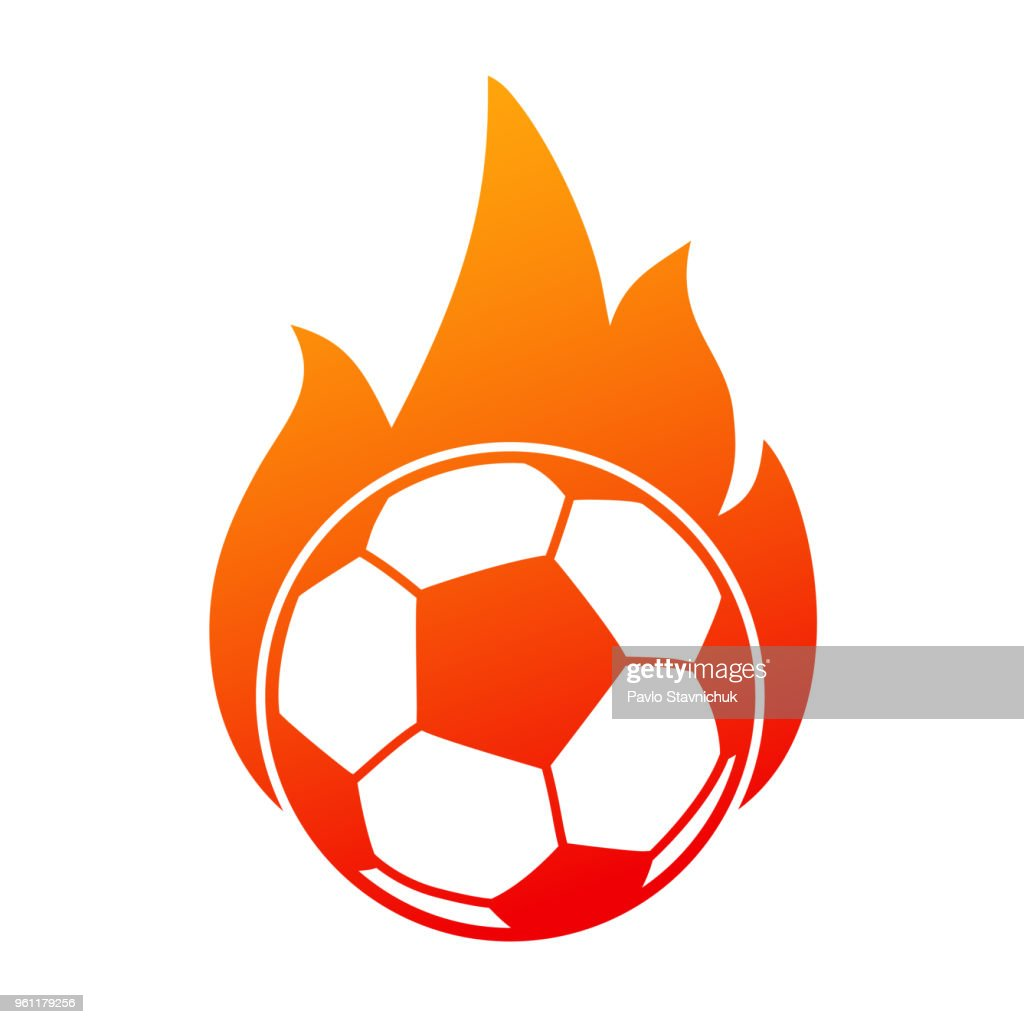 Soccer ball in fire, football icon – stock vector
