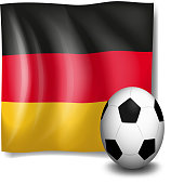 Soccer ball in front of the German flag