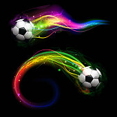 Soccer ball on colorful lightning way