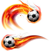Soccer ball on fire trail