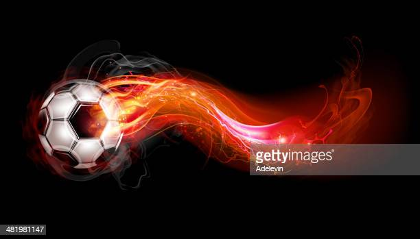 soccer ball on fire - match sport stock illustrations, clip art, cartoons, & icons