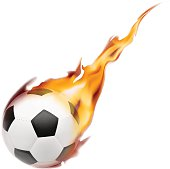 Soccer ball on fire. Vector illustration on white background