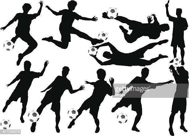 soccer ball player - heading the ball stock illustrations