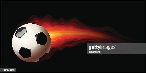 ilustraciones, imágenes clip art, dibujos animados e iconos de stock de pelota de fútbol - llamas de fuego