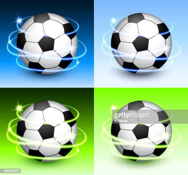 Soccer Ball with Abstract Lights on Color Background