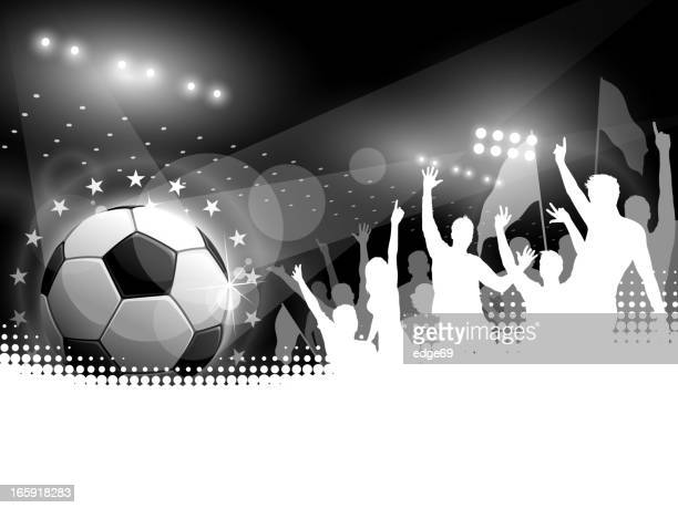 fußball ball mit menschenmenge jubeln - fan enthusiast stock-grafiken, -clipart, -cartoons und -symbole