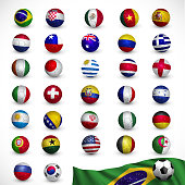 Soccer ball (Football) with flag,